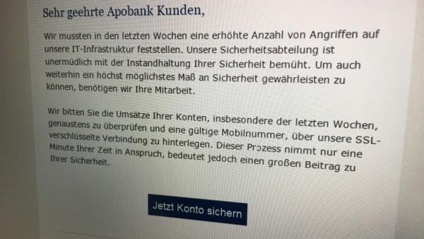 Apobank-Kunden erhalten betrügerische Phishing-Mail