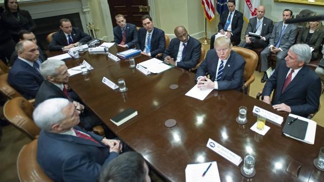 US-Präsident Donald Trump im Gespräch mit Vertretern des US-Pharmaverbandes PhRMA. (Foto: Imago)
