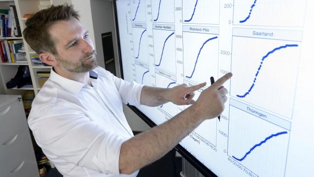 Thorsten Lehr, Professor für Klinische Pharmazie der Universität des Saarlandes, erklärt die Schaubilder des Covid-Simulators. (Foto: Universität des Saarlandes)