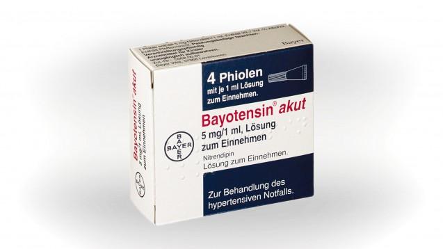 Bayotensin akut (Nitrendipin) wird es künftig nicht mehr geben, der Vertrieb wird eingestellt. (c / Packshot: Bayer)