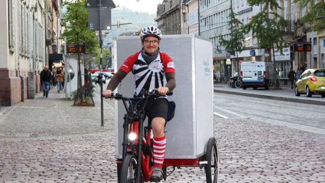 Das Cargo Bike der schwäbischen Firma Radkutsche, wurde in Kooperation mit VeloKurierFreiburg für Alliance Healthcare, Niederlassung Freiburg, weiterentwickelt.(Foto: Alliance Healthcare)