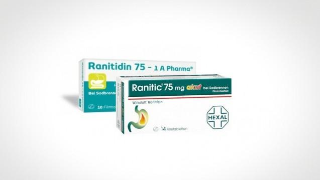 Auch OTC-Präparate sind vom Ranitidin-Rückruf betroffen. Grund ist die Verunreinigung mit dem Nitrosamin NDMA, dass im Sommer 2018 zum weltweiten Sartan-Skandal geführt hatte. (Foto: Hexal / 1 A Pharma / Montage: DAZ.online)