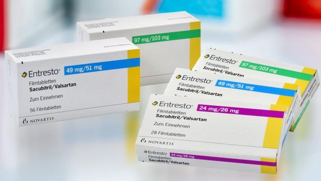 Die Fixkombination aus Valsartan und Sacubitril (Entresto) findet sich seit Mai in internationalen Leitlinien. (Packshot: Novartis | Foto:Artinun / stock.adobe.com)