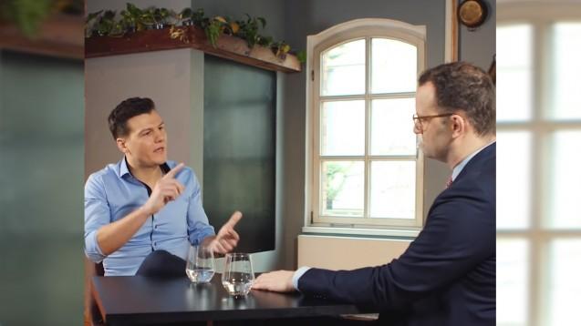"""Teil 2 zu """"Frag Spahn"""" mit Apothekenthemen: Apotheker Kircher redet Klartext, der Minister weicht der Frage nach der Zukunftssicherung für Apotheken aus. (Foto: Screenshot youtube)"""