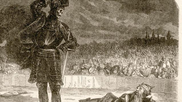 Der schwarze Tod, wie Schriftsteller Alexander Dumas (1802-1870) ihn sah. (Holzschnitt, Ausschnitt, dpa)