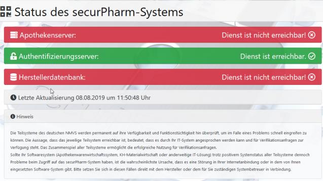 Wieder einmal ist es am heutigen Donnerstag zu erheblichen technischen Problemen mit dem Securpharm-Server gekommen. (Screenshot: DAZ.online)