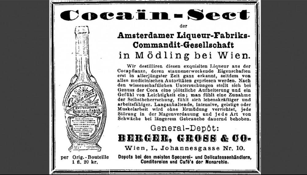 Cocain-Sect - ein equisiter Liqueur aus der Cocapflanze (Quelle: Militär-Zeitung 39 (1886) Nr. 2 vom 5. Jänner 1886, S. 12)