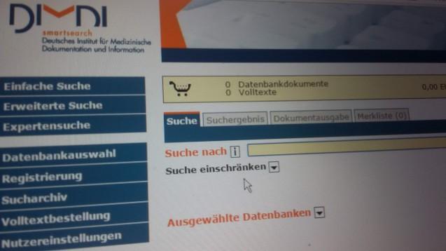 Fakten statt Literatur: Das DIMDI will sich zum Jahresende von Literaturdatenbanken trennen. (Screenshot)