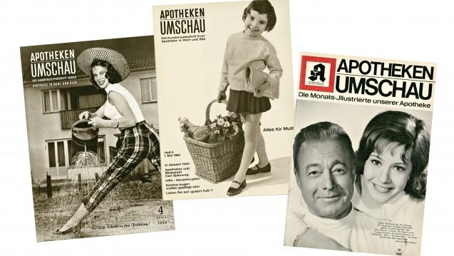 Ein Blick zurück: So sah die Apotheken Umschau in den Jahren 1959, 1962 und 1965 aus. (Foto: Apotheken Umschau)