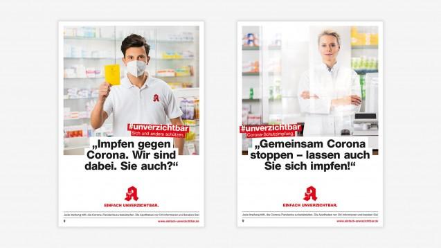 Zwei neue Plakatmotive der #unverzichtbar-Kampagne der ABDA sollen Apothekenkund:innen motivieren, sich impfen zu lassen. (Foto: ABDA)