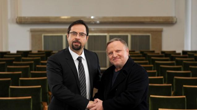 Gerichtsmediziner Boerne und Kommissar Thiel bei den Dreharbeiten zum Tatort vom vergangenen Sonntag. (Foto: dpa)