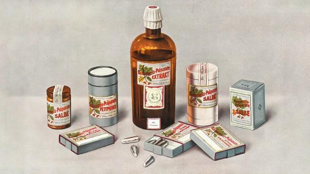 Hamamelis-Präparate Dr. Willmar Schwabe Ende der 1920er. (Bild: Dr. Willmar Schwabe©)