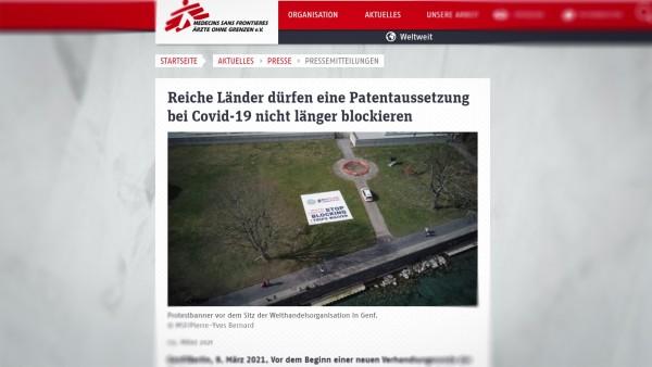 Ärzte ohne Grenzen fordern Blockade gegen Aussetzung der COVID-19-Patente aufzugeben