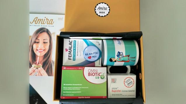 So sah die Amira Gold-Box aus: Mit dabei war eine Packung Ibuprofen. (c / Foto: privat)