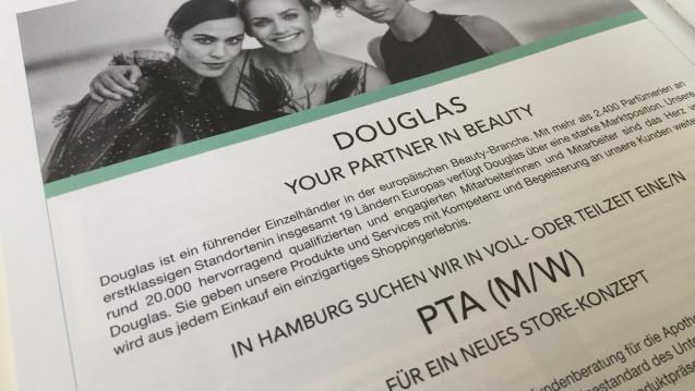 Mit Stellenanzeigen online und in der Fachpresse sucht die Parfümeriekette Douglas nach pharmazeutischem Personal für ein neues Store-Konzept in Hamburg. (c / Foto: DAZ/eda)