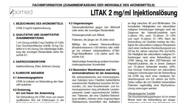 Die Fachinformation von Litak muss überarbeitet werden. (Foto: Screenshot Fachinfo.de)