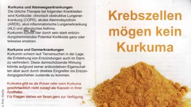 Eine Leipziger Apothekerin wurde abgemahnt, weil sie mit Kurkuma ein Zeichen für gesunde Ernährung setzen wollte. (Foto: Screen bzw. Printemps/Fotolia)