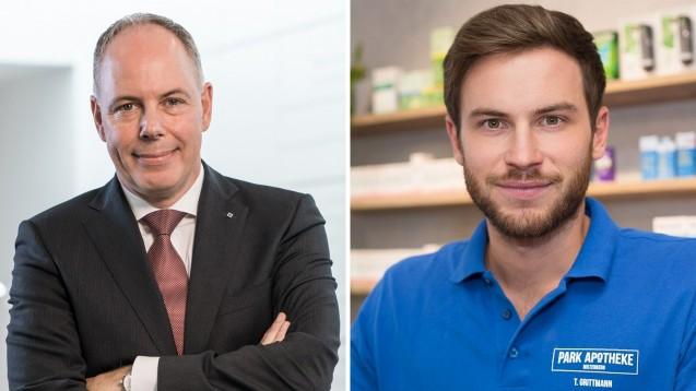 Noweda-Chef Dr. Michael Kuck (l.) unterstützt Thomas Grittmann bei seinen juristischen Schritten gegen Teleclinic. (x / Foto: Noweda / Grittmann)