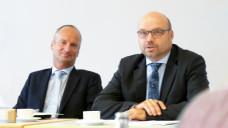 Präsident Friedemann Schmidt und Vizepräsident Göran Donner der Sächsischen Landesapothekerkammer bei der Sitzung am gestrigen Mittwoch. (Foto: eda / daz)