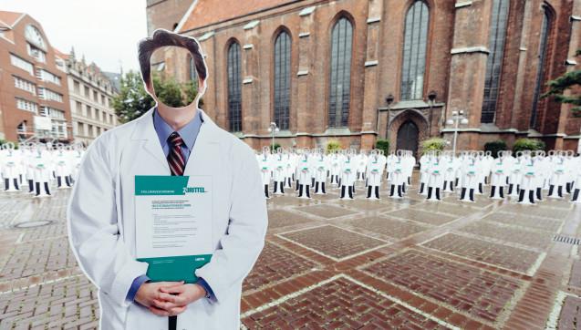 Die Protestaktion fand vor der Marktkirche in Hannover statt, in  unmittelbarer Nähe zum derzeitigen provisorischen Sitz des Landtags.(Foto: Niedersächsische Krankenhausgesellschaft)