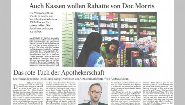"""In der FAZ vom 28. Oktober spricht DocMorris CEO Olaf Heinrich über Anfragen von Krankenkassen, die Interesse an Verträgen geäußert haben sollen.Denn nicht nur Verbraucher gehörten zu den Profiteuren des EuGH-Urteils, sondern auch die Kassen, erklärt er. Der Chef der AOK Baden-Württemberg, Christopher Herrmann, sieht im Versandhandel vor allen in Gegenden mit geringer Apothekendichte die """"einzige Form eines Preis- und Service-Wettbewerbs, von dem Patienten direkt profitieren können"""". Gäbe es die die gesetzliche Möglichkeit, dies vertraglich zu unterstützen, wäre die AOK BaWü die erste Kasse, die dies auch täte. Im Falle eines Rx-Versandverbots will DocMorris gegebenenfalls bis vor das Verfassungsgericht ziehen.  In der FAZ vom Freitag wird Heinrich aber noch zitiert, dass er nicht davon  ausgehe, dass der Versandhandel mit Verschreibungspflichtigem ganz  verboten wird."""