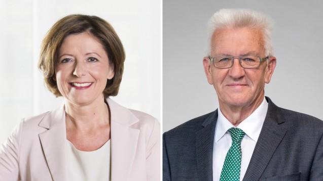 Die Regierungschefs Malu Dreyer (SPD) und Winfried Kretschmann (Grüne) sind die Gewinner der Landtagswahlen in Rheinland-Pfalz bzw. Baden-Württemberg. (Fotos: Landtag Rheinland-Pfalz/Fraktion Die Grünen)
