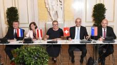 Fünf Minister und Ministerinnen, die auf eine verstärkte Zusammenarbeit setzen. (Foto: Johannes Zinner)