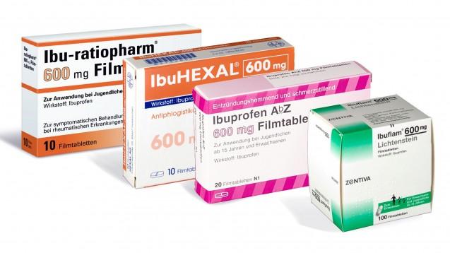 Nicht lieferbar: Immer wieder fehlen Ibuprofen 600 mg Tabletten unterschiedlicher Packungsgrößen in den Apotheken.(Foto: Ratiopharm / Hexal / AbZ / Zentiva)