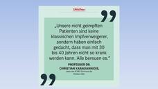 """""""Mit den Zitaten der Intensivmedizinerinnen und -mediziner möchten wir in Deutschlands meistgelesenem Gesundheitsmagazin und auf unseren Social-Media-Kanälen nun denjenigen eine Stimme geben, die wieder einmal in erster Reihe die Folgen tragen müssen. Ihr einhelliger Appell: Lassen Sie sich impfen!""""(Foto: Apotheken Umschau)"""