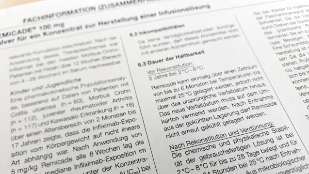 Fachinformationen – sind sie wirklich immer auf dem neuesten wissenschaftlichen Stand? MSD hat seine Angaben zur Haltbarkeit von Remicade in diesem Jahr angepasst. (m / Foto: DAZ.online)
