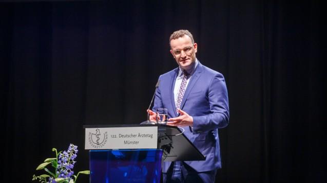Bundesgesundheitsminister Jens Spahn beim Deutschen Ärztetag 2019 in Münster. (Foto: IMAGO / Rüdiger Wölk)