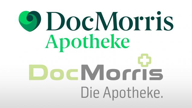 DocMorris im Wandel: Das neue Markendesign (oben) stammt von der Designagentur Mucho aus Barcelona, Spanien. (Quelle: DocMorris)