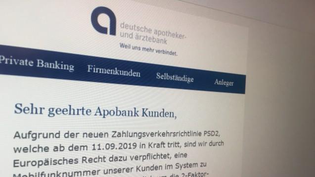 In einer Phishing-Mail werden die Apobank-Kunden derzeit wieder zur Daten-Abgabe aufgefordert. (Foto: DAZ.online)
