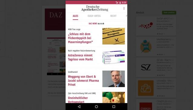Mit der kostenlosen App der Deutschen Apotheker Zeitung können alle Nachrichten von DAZ.online verfolgt werden. DAZ-Abonnenten können die DAZ und die AZ auch auf ihrem mobilen Gerät lesen.