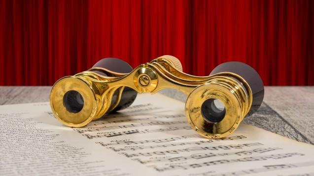 Es ist dunkel. Nuraus dem Orchestergraben, in dem der Dirigent schon Platz genommen hat, scheint noch Licht. Stille und gespannte Erwartung. Heute verbirgt sich hinter dem Rätseltürchen etwas für Opernfreunde. (Foto: goldpix / stock.adobe.com)