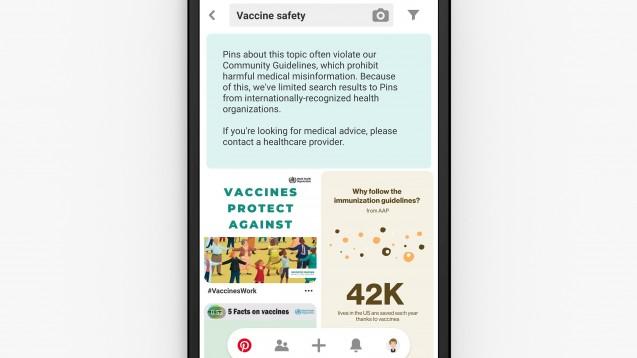 Die Social-Media-Plattform Pinterest möchte von nun an nur noch seriöse Gesundheitsinformationen verbreiten. Bis dieses Ziel Realität wird, dürfte allerdings noch einige Zeit vergehen. (Foto: Pinterest)