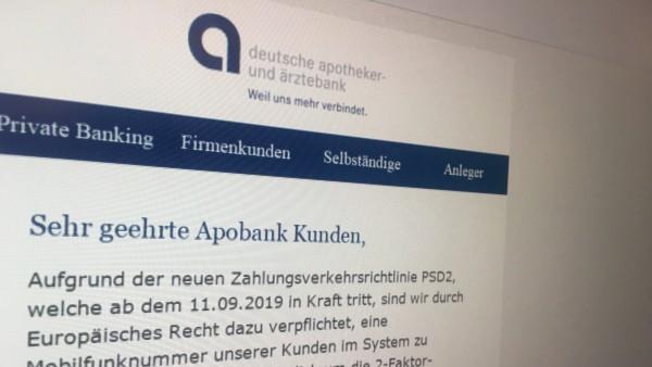 Aufgepasst! Erneut Phishing-Mail mit Apobank-Logo