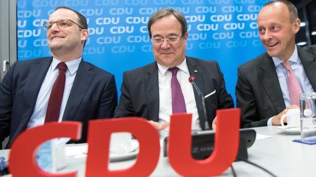 Wer macht das Rennen um die CDU-Spitze? In einer aktuellen Umfrage liegt Friedrich Merz klar vor Armin Laschet und Jens Spahn. ( t / Foto: dpa)