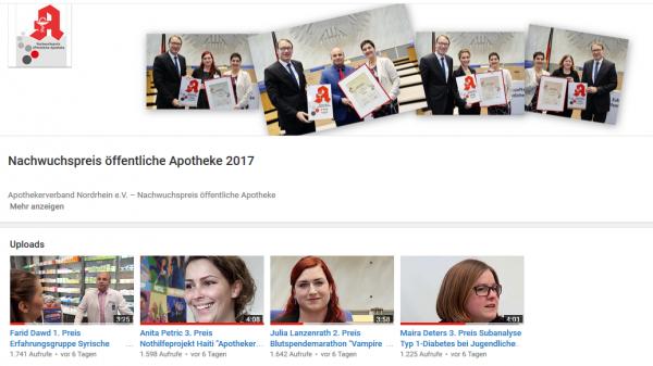Die Preisträger auf YouTube