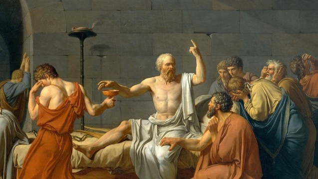 War umgeben von Idioten und zog die Konsequenzen: Sokrates. (Jacques-Louis DavidsDer Tod des Sokrates(1787) gemeinfrei)