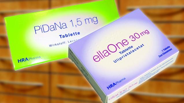Wann sollte LNG empfohlen werden, wann UPA? (Foto: Photowahn/Fotolia.com, HRA Pharma; Montage: DAZ)