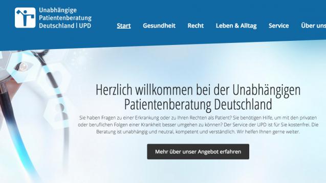 Längere Beratungszeiten, mehr Mitarbeiter: die UPD will bekannter werden.  (Screenshot: DAZ.online)