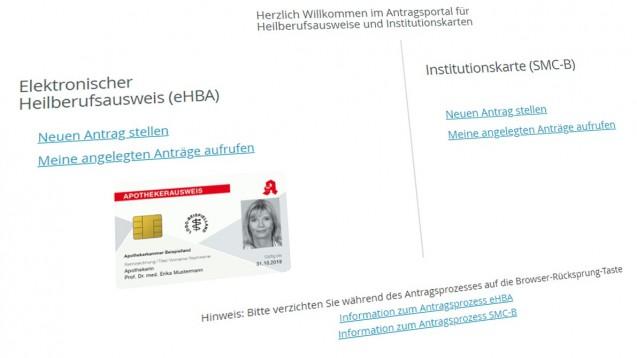 Ab Oktober wird die Beantragung der Institutionenkarte (SMC-B) erschwert: Wer bis dahin noch keine hat, benötigt dann zunächst den elektronischen Heilberufeausweis (HBA). Das könnte den TI-Anschluss um rund drei Wochen verzögern. (Screenshot: DAZ.online / ehealth.d-trust.net/antragsportal/)