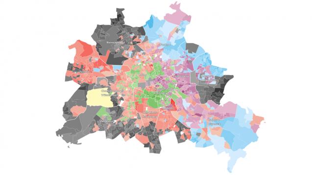 Alles dabei: Während SPD, CDU und FDP im Westen der Stadt die meisten Wähler überzeugen konnten, ist das Berliner Zentrum weitestgehend grün eingefärbt. Neu: Im Osten der Stadt ist die AfD stark vertreten. (Grafik:Berliner Morgenpost)