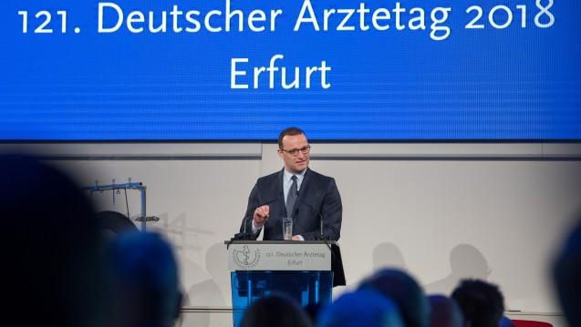 Bundesgesundheitsminister Jens Spahn (CDU) beim Deutschen Ärztetag in Erfurt. (Foto: dpa)