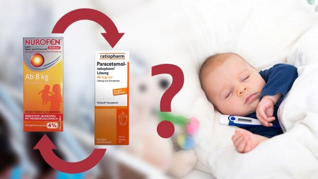 Welche Fiebersenkung ist am besten? Paracetamol und Ibuprofen allein, gleichzeitig oder im Wechsel geben? (Foto: Tomsickova / stock.adobe.com / Montage jh / DAZ.online)