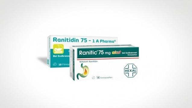 Auch OTC-Präparate waren vom Ranitidin-Rückruf in Deutschland im September 2019 betroffen. Nun empfiehlt die EMA die Zulassung von Ranitidin grundsätzlich vorerst auszusetzen. ( r / Foto: Hexal / 1 A Pharma / Montage: DAZ.online)