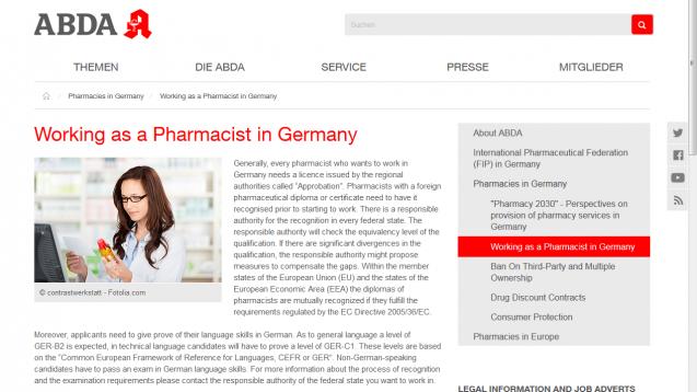 Die ABDA hat ihren englischen Internetauftritt aufgefrischt. (Screen: abda.de)