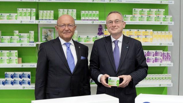 Bionorica kann sich über gute Zahlen freuen, hier der Vorstandsvorsitzende Professor Dr. Michael A. Popp (links) und der Vorstand Global Business Dr. Uwe Baumann. (Foto: Bionorica/Stephanie Winterhalter)