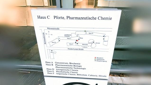 Und wo ist die klinische Pharmazie in München? Die fehlt nicht nur auf dem Lageplan. (Foto: DAZ.online)